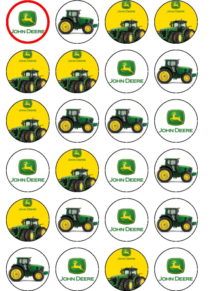 It is a graphic of Crazy John Deere Cupcake Toppers